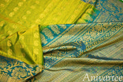 Handloom Gadwal silk saree in mehndi green in  jute finish with buttas - Anivartee