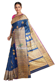 Handloom Gadwal silk saree in blue in dupion (jute) finish with buttas - Anivartee