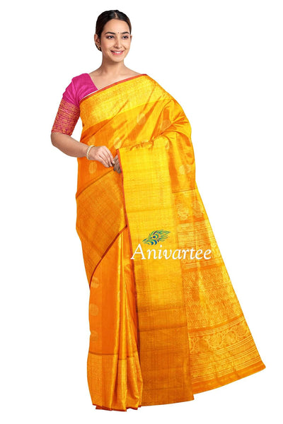 Handloom Gadwal silk saree in mustard yellow  in jute finish with buttas - Anivartee