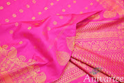 Handloom Gadwal silk saree in pink in dupion (jute) finish with buttas - Anivartee