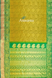 Handloom Gadwal silk brocade saree in light green - Anivartee