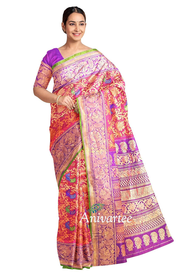 Handloom Gadwal silk brocade in pink with floral pattern & peacocks - Anivartee