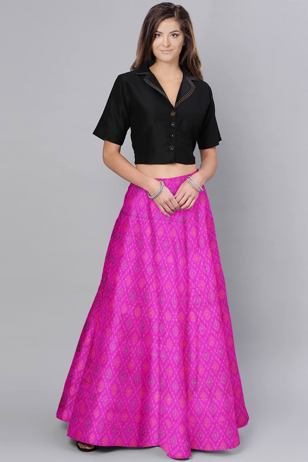 Handwoven Ikkat pure silk unstitched  fabric in dupioni finish in pink.