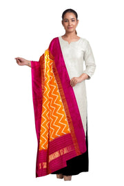 Ikkat pure silk dupatta in orange with zig zag pattern and a pink border