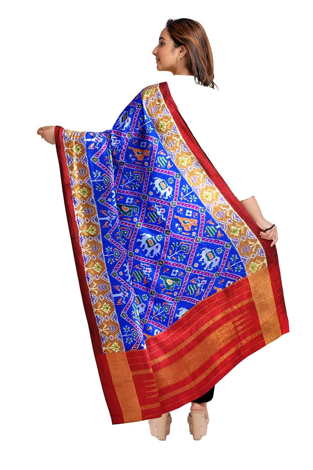 Ikkat pure silk dupatta in blue in narikunj pattern