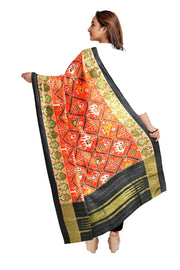 Ikkat pure silk dupatta in  orange  in narikunj pattern