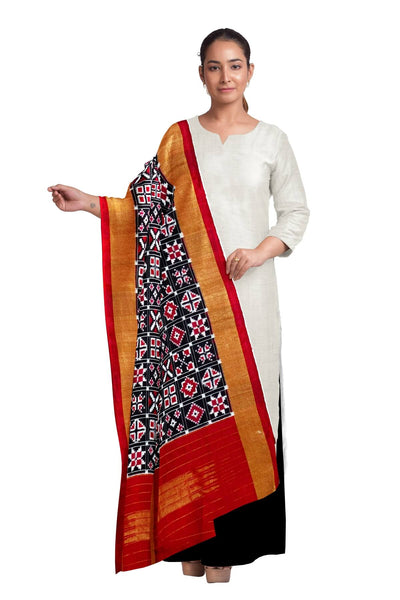 Double ikkat telia pure silk dupatta in 9 motifs