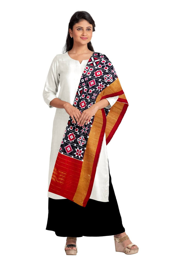 Handwoven double Ikkat pure silk dupatta