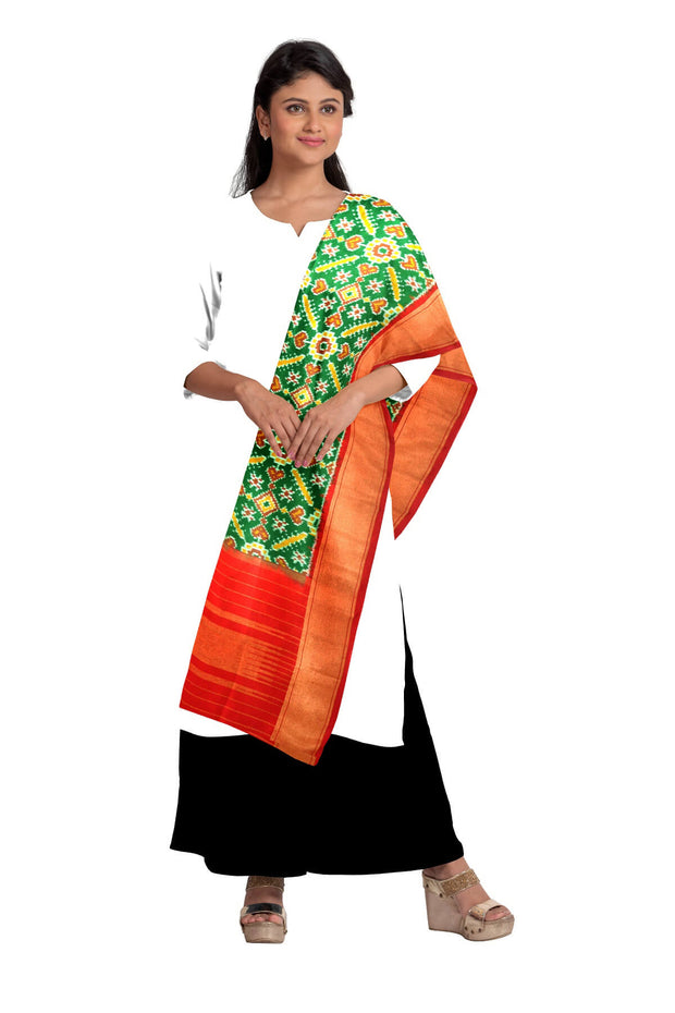 Ikkat pure silk dupatta in green in pan patola pattern