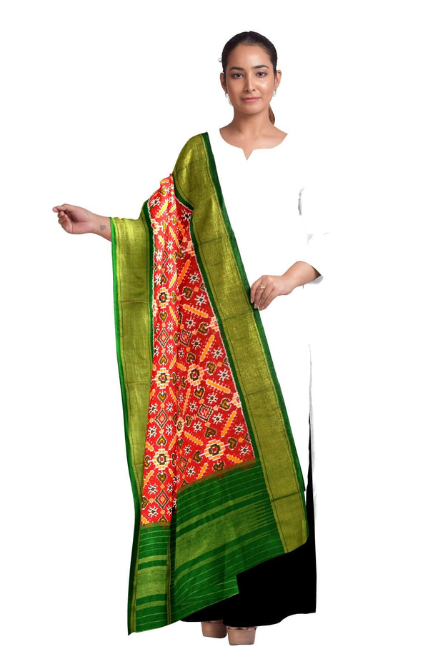 Ikkat pure silk dupatta in red in pan patola pattern