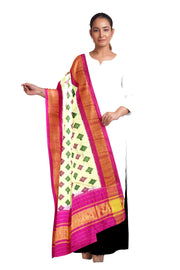 Ikkat pure silk dupatta in  off white  in diamond pattern