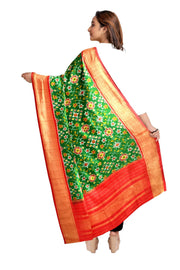 Ikkat pure silk dupatta in green in navratan pattern
