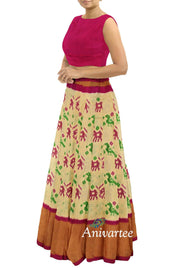 Handwoven Ikkat  pure silk  unstitched lehenga material