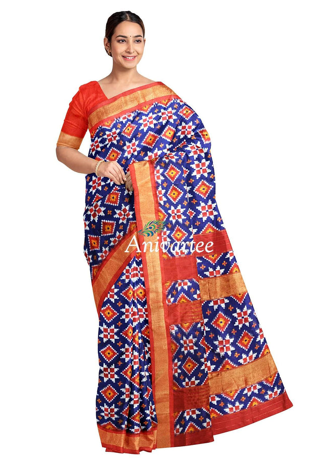 Handwoven Double Ikkat  pure silk saree