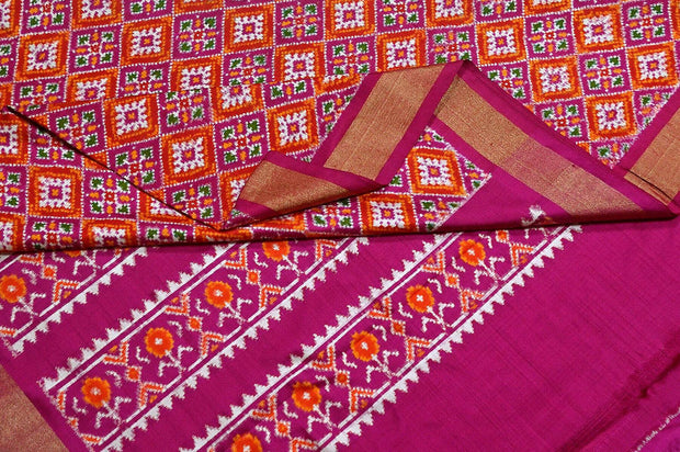 Double ikkat pure silk saree in pink in choktha bhat (diamond pattern)