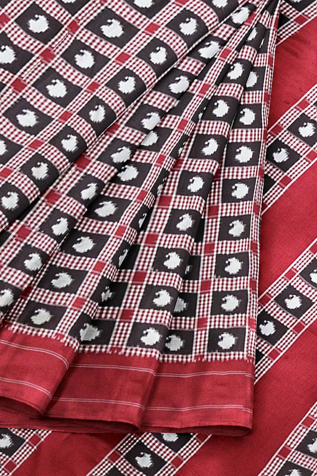 Gorgeous double Ikat telia pure silk saree in black & red with intricately crafted mango motifs