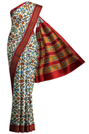 Stunningly beautiful & expertly crafted, handwoven double ikat pure silk saree in white in pan patola pattern