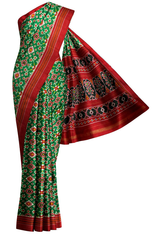 Stunningly beautiful & expertly crafted, handwoven double ikat pure silk saree in green in navaratan pattern