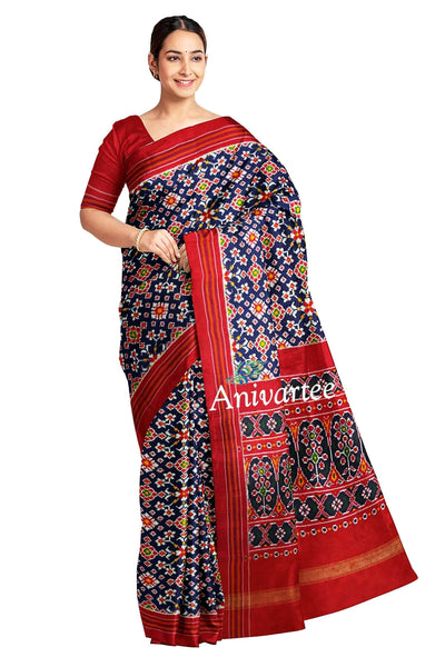 Stunningly beautiful & expertly crafted, handwoven double ikat pure silk saree in navy blue in  navratan pattern