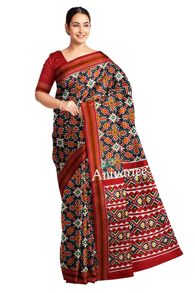 Gorgeous double ikat pure silk saree in black in patola pattern