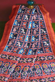 Stunningly beautiful & expertly crafted, handwoven double ikkat pure silk saree in  blue in fish & swan pattern