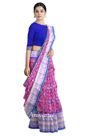 Ikkat pure silk saree in pink in navaratan pattern and a rich kanchi border.