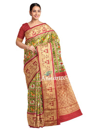 Ikkat pure silk saree in green in narikunj  pattern and a rich kanchi border