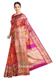 Ikkat pure silk saree in two tone orange in narikunj pattern and a rich kanchi border