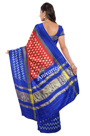 Handloom ikkat silk saree in red with leaf pattern all over the body. - Anivartee