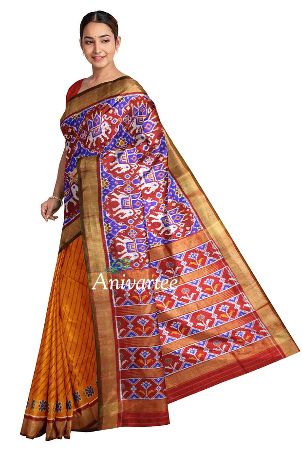 Handwoven Ikat pure silk saree in partly style - Anivartee