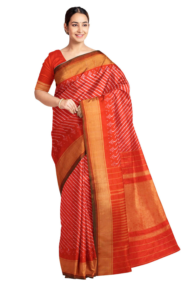 Handwoven Ikat pure silk saree in red in stripes pattern