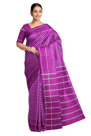 Handwoven Ikat pure silk saree in purple in stripes pattern