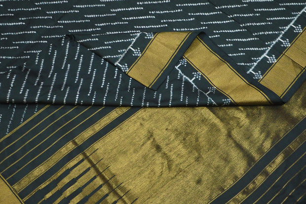 Handwoven Ikat pure silk saree in black in diagonal lines pattern