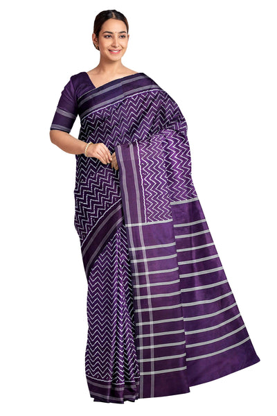 Handwoven ikat pure silk saree in violet in wave pattern