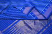 Handwoven Ikat pure silk saree in blue in stripes pattern