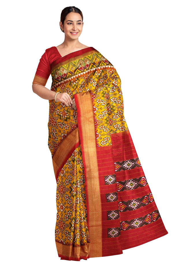 Handwoven ikat pure silk saree in yellow in navaratan pattern