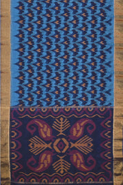 Handloom Ikat silk cotton saree in blue - Anivartee