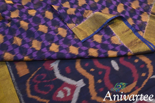 Handloom Ikat silk cotton saree in violet - Anivartee