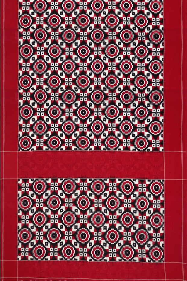 Handwoven double Ikat  pure cotton saree in red with squares & circles