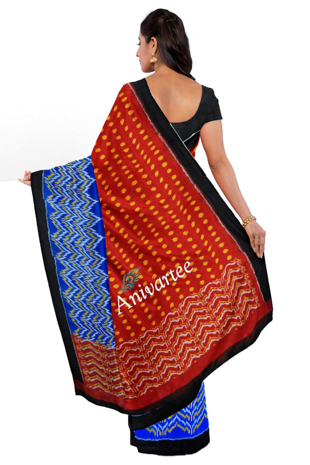 Handwoven Ikat pure silk saree in partly style with polka dots - Anivartee
