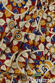 Handblock printed Kalamkari silk cotton fabric - Anivartee