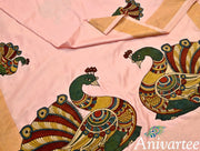 Kalamkari applique work on Uppada pure silk saree