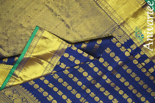 Beautiful handwoven Kanchi pure silk dupatta in navy blue with rich pallu and borders