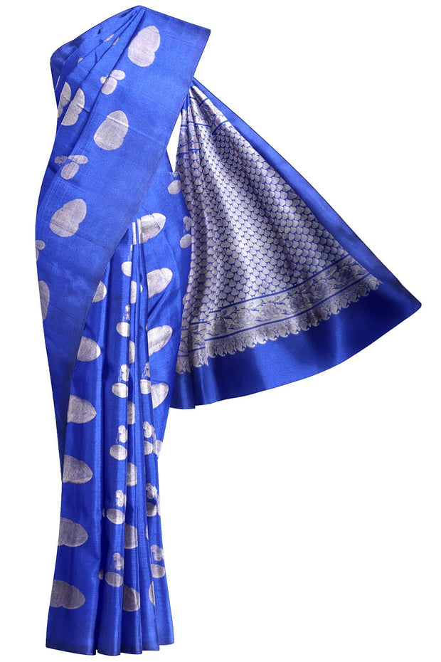 Handloom Kanchi silk saree with musical instruments motifs in silver - Anivartee