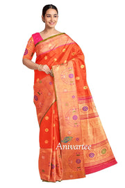 Handwoven Kanchi pure silk pure zari saree in orange with gold motifs and a rich pallu