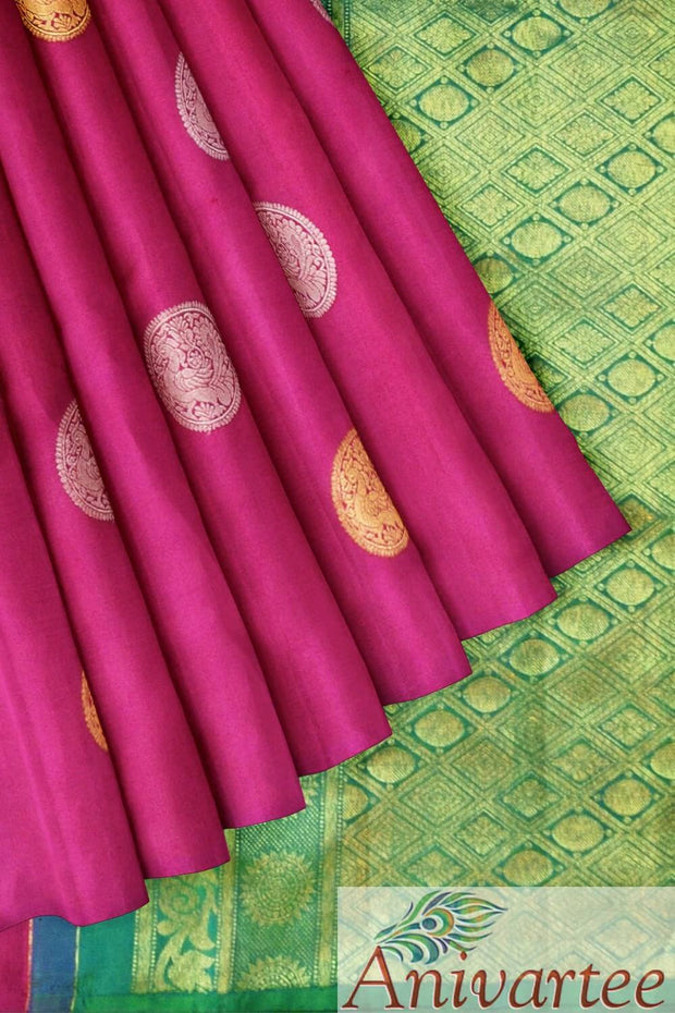 Kanchipuram borderless silk saree  with gold & silver buttas
