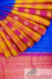 Kanchipuram pure silk pure zari  saree with skirt border