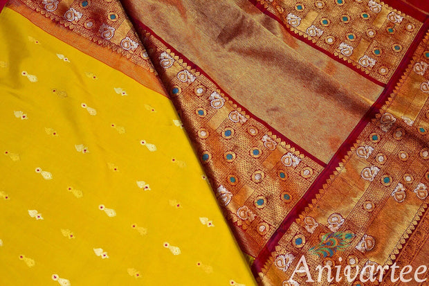 Kanchipuram pure silk pure zari saree with gold & silver buttas and a big border