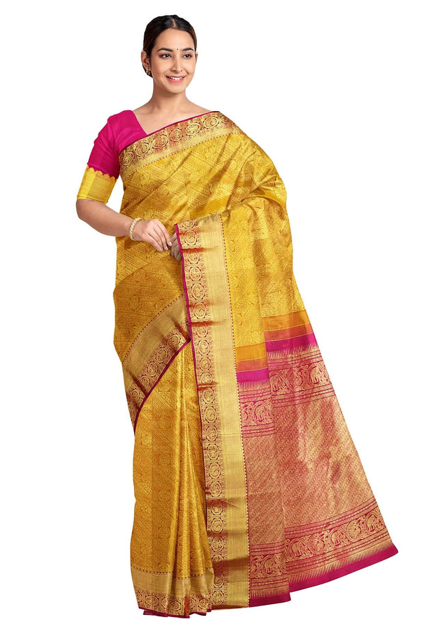Handwoven Kanchi pure silk brocade saree in golden yellow