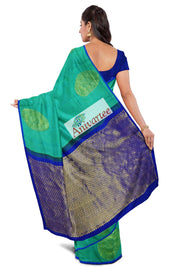 Handloom Kanchi borderless silk saree in teal blue with large motifs - Anivartee